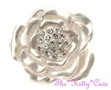 Unusual Floral Artisan Rose Flower Bloom Matte Silver Ring w/ Swarovski Crystals