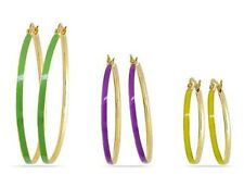Three-piece Multi-Colored Enamel Hoop Earrings 3pcs Set Green Purple Yellow