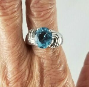 Sterling Silver Faux Blue Topaz Ring FREE SIZING!!! Size 10