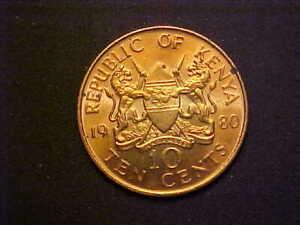 1980 Kenya 10 Cents KM# 18 - Gorgeous Choice BU Collector Coin! -d3482xcx