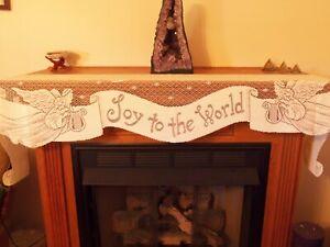 "Lace Mantel Scarf  Ivory Joy to The World design   94"" x 20"""