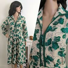 Vintage 70s 80s Green Painted Floral Midi Jersey Dress 50s 12 40