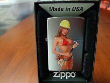 BUSTY PINUP GIRL CONSTRUCTION WORKER HARD HAT TOOL BELT HAMMER ZIPPO LIGHTER