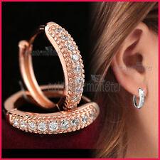 9K ROSE GOLD GF SOLID ANNIVERSARY WEDDING CRYSTAL RING HOOP HUGGIE EARRINGS GIFT