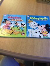 Tell-A-Tale Whitman Lot Of 2 Books Disney Mickey Mouse & The Neat Robot 1970's