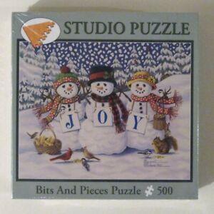 Margaret Cobane: Joyful Trio SNOWMEN Bits & Pieces Jigsaw Puzzle! 500 Piece New!