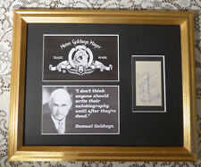 SAMUEL GOLDWYN RARE SIGNED PERSONAL CALLING CARD DISPLAY AUTOGRAPHED  w  COA