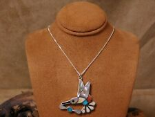 Vintage Sterling Silver Inlay Hummingbird Necklace
