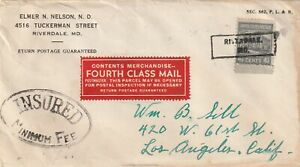 US RIVERDALE MD 4c5 White House PREXIE Single Franking 4th Class Insured c1945