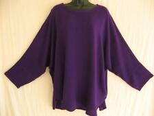 TIENDA HO~Purple~SUSTI Boucle Stripe~Smara Tunic Top~Rounded Hem~OS(M-1X?
