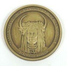 Rare NEW Vintage BSA Trapper Trails Council Blackfoot Warrior FOS card & Coin