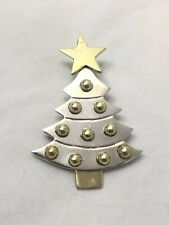 Vintage Sterling Silver Christmas Tree Pin Brooch w/ Brass Star & Balls Mexico