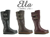 Ladies Ella Flat Boots Mid Calf Buckle Faux Leather Winter Warm Faux Fur Lining