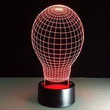 BULB Shape 3D LED Night Lights Desk Lamp - Illusion Desk Lamp USB LED 7 Colors