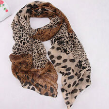 Womens Leopard Print Long Soft Warm Chiffon Neck Scarf Wrap Shawl Scarves Stole