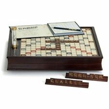 Scrabble Deluxe Wooden Edition with Rotating Game Board, Raised Grid Brown Color