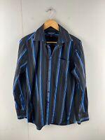 Mattino Men's Short Sleeved Button Up Shirt Size S Black Blue Stripe