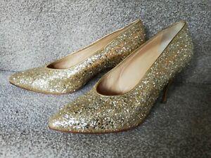 Vintage Maud Frizon Gold Glitter Shoes, Size 6.5