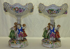 2 Lg Schierholz Dresden Germany Dancing Children Floral Compote Centerpiece Bowl