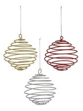 "Ball Spiral Metal 4.5"" Ornament Set 4 Silver Gold 3-D Christmas Decor Pop-Out"