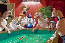 Decor  Art QUALITY CANVAS PRINT,Arthur Sarnoff dogs playing Craps,24x36