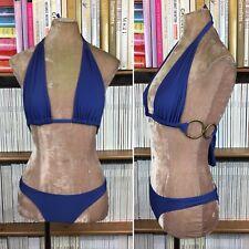 LENNY Bikini brésilien bleu violet métallique ornée UK 8-10 US 4-6