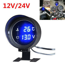 Car LCD Digital Display Blue LED Voltmeter Water Temp Gauge Meter With Sensor