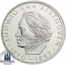 Deutschland 5 DM Silber 1970 Stempelglanz Ludwig van Beethoven in Münzkapsel