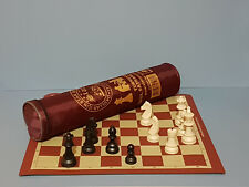 STAR PLASTIC CHESS PIECES & ROLL-UP ARTIFICIAL LEATHER MAT WITH TRAVEL BAG