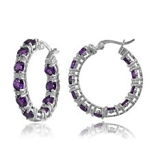 Sterling Silver African Amethyst & White Topaz Round Hoop Earrings