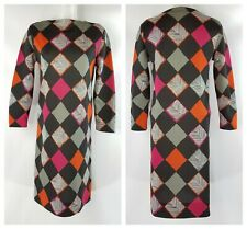 Vintage 1960s Mod Harlequin Print Polyester Dress- Size M- Handmade Double Knit