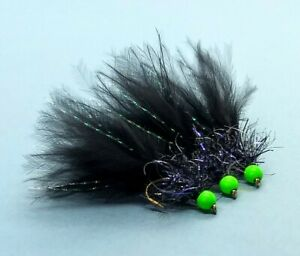 3 x Black Woolly Bugger UV Fritz Variant Trout Fly Lure Flies Fl Green Hothead