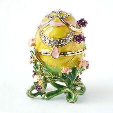 Faberge Egg with Rich Enamel & Sparkling Rhinestones Jewelry Trinket Box