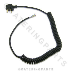 13 amp HEAVY DUTY CABLE COILED CURLY MAINS FLEX 13a C/W  MOULDED 3 PIN UK PLUG