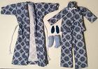 Blue Barbie Pjs Set Modern Outfit Handmade Doll Clothes Pajama Slipper Housecoat