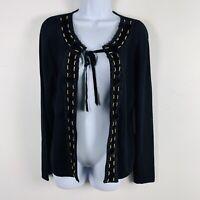 Pierri Womens Cardigan Sweater Sz M Black Knit Gold Bead Trim Open Front New H27