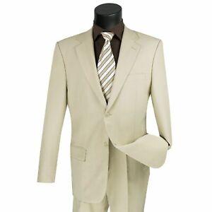 LUCCI Men's Beige 2 Button Classic Fit Poplin Polyester Suit NEW