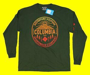Men's COLUMBIA SPORTSWEAR Long Sleeve T-Shirt Size L Green 3XL Runs Small