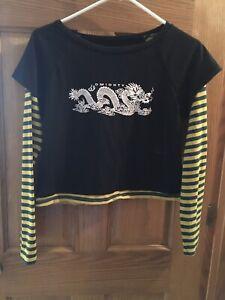 Dolls Kill Vaulted Striped Dragon Cropped Top Shirt Medium Alternative Alt Punk