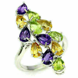 Ring Amethyst Peridot and Citrine Genuine Gem Sterling Silver Size S 1/2  US 9.5