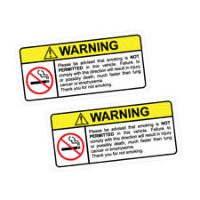 2X WARNING NO SMOKING Sticker Decal Car Drift Turbo Euro Fast Vinyl #1177