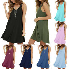 Women A Line O Neck Solid Loose Casual Sleeveless Tank Mini Dress Beach Sundress
