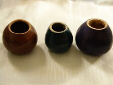 LOT THREE YERBA MATE CUP GOURD LIGHT BROWN GREEN VIOLET