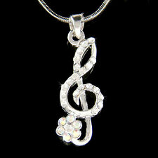 w Swarovski Crystal TREBLE G CLEF Music MUSICAL NOTE Flower Floral  Necklace New