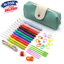31Pcs With Bag Soft handle Crochet Hooks Knitting Needles Sets Sewing Tools Grip