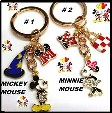 Disney Mickey Mouse Minnie Mouse CRYSTAL Charm Metal Pendant KEYCHAIN Keyring