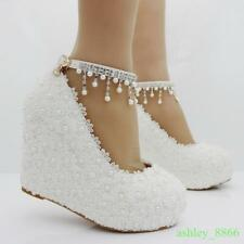 Womens White Wedding wedge heel Lace Formal Pearl Platform Pumps Bride Shoes