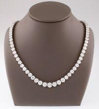 """18k White Gold Round Diamond Tennis Necklace TDW = 43.19 ct 17"""" Gorgeous"""