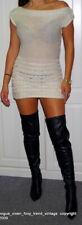 JANE NORMAN🤎 BEIGE CABLE KNIT🤎 BARDOT  BODYCON JUMPER DRESS UK SIZE 8
