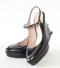 COLE HAAN Brenna Mary Jane Black Leather Wedge Heels Shoes 8AA